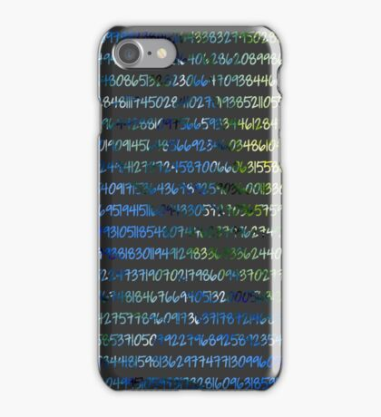 Digits of Pi (Green & Blue on Grey Background) iPhone Case/Skin