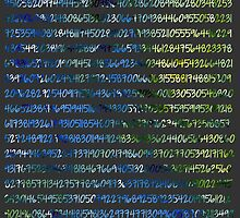 Digits of Pi (Green & Blue on Grey Background) by funmaths