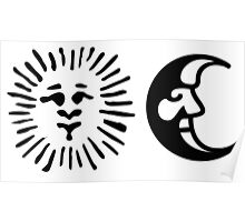 Sun & Moon | Black on White Poster