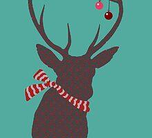 CHRISTMAS DEER TEAL by veggiemuse