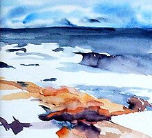 Surf and Rock, Gloucester by watercolors1