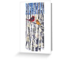 Pair of Cardinals in Birches  Greeting Card