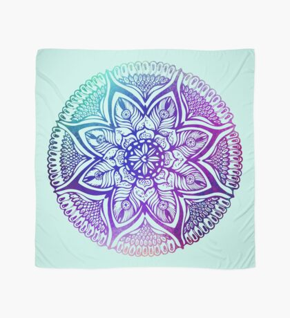 Mandala#4.Hand draw  ink and pen, Watercolor, on textured paper Scarf