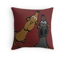 Smooth haired dachshunds Throw Pillow