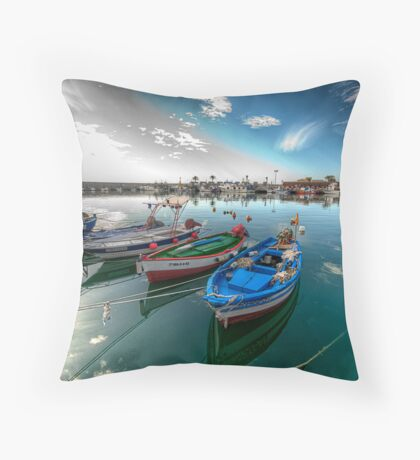 Fuengirola Harbour-Boats at Rest Throw Pillow