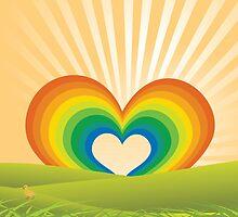 Rainbow Heart Keyhole by JolenesTrailer
