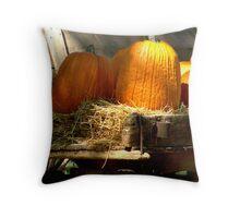 Wagon & Autumn Harvest Throw Pillow