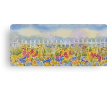 Summer Flowers Picket Fence Canvas Print
