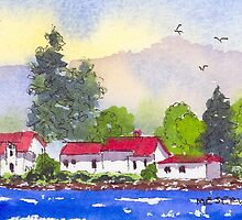 Alton Bay New Hampshire Island Cottages by Roseann Meserve