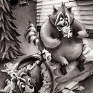 Raccoons Reeling Through Junk Food by Patrick Brickman