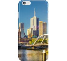Melbourne Skyline in Setting Sun iPhone Case/Skin