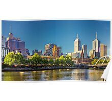 Melbourne Skyline in Setting Sun Poster