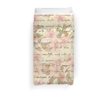 Vintage,water color,floral,hand writtend,victorian,chic,elegant,shabby,pink,beige,cute,girly,trendy,hipster,template,customizable Duvet Cover