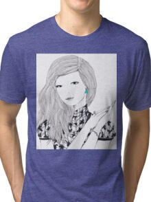 Giant Fashion Portrait of a woman with a drop earring Tri-blend T-Shirt