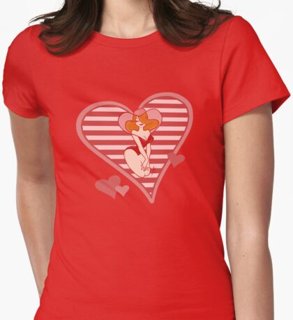 Valentine Pin Up Womens Fitted T-Shirt