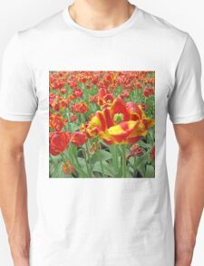 Square Yellow and Red Tulips Unisex T-Shirt