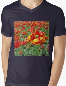 Square Yellow and Red Tulips Mens V-Neck T-Shirt