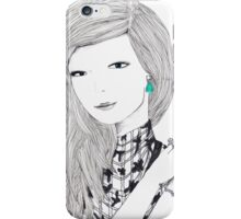 Giant Fashion Portrait of a woman with a drop earring iPhone Case/Skin