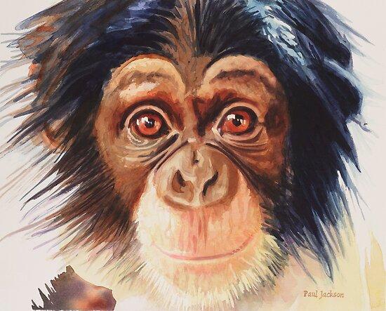 """Chimpanzee"" Watercolor by Paul Jackson"