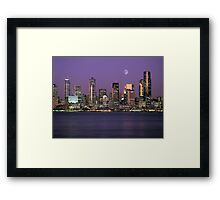 Seattle, Washington city skyline at night Framed Print