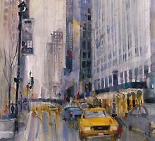 Hey Taxi - New York City Midtown Rain Watercolors by Dorrie  Rifkin