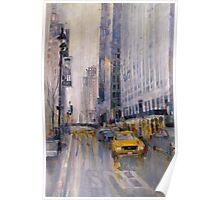 Hey Taxi - New York City Midtown Rain Watercolors Poster