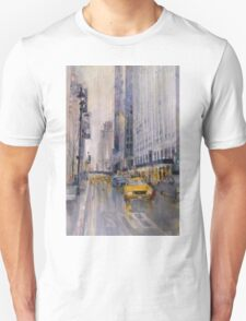 Hey Taxi - New York City Midtown Rain Watercolors T-Shirt