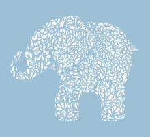 Little Leafy White Elephant Kids Tee