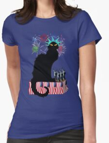 Lady Liberty - Patriotic Le Chat Noir  Womens Fitted T-Shirt