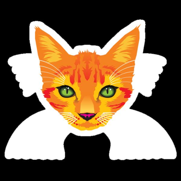 orange cat tee by Matt Mawson