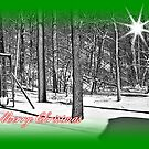 Snowy Merry Christmas by Greeting Cards by Tracy DeVore