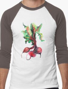 Watercolor image of beet root on white background.  Men's Baseball ¾ T-Shirt