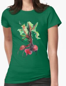 Watercolor image of beet root on white background.  Womens Fitted T-Shirt
