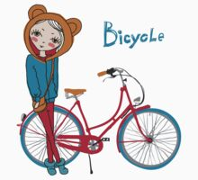 girl with bicycle Kids Tee