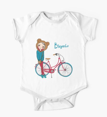 girl with bicycle One Piece - Short Sleeve