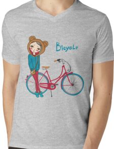 girl with bicycle Mens V-Neck T-Shirt
