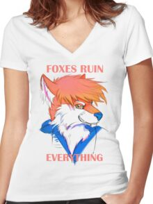 Foxes Ruin Everything Women's Fitted V-Neck T-Shirt