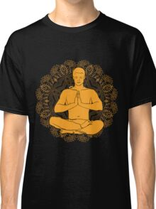 man sitting in the lotus position doing yoga meditation Classic T-Shirt