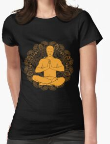 man sitting in the lotus position doing yoga meditation Womens Fitted T-Shirt