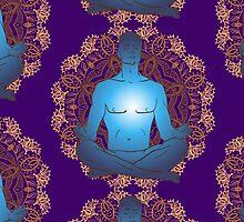 man sitting in the lotus position doing yoga meditation by OlgaBerlet