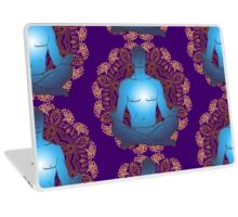 man sitting in the lotus position doing yoga meditation Laptop Skin