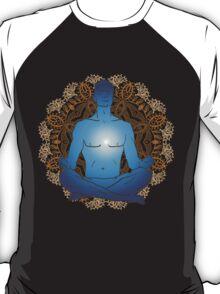 man sitting in the lotus position doing yoga meditation T-Shirt