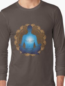 man sitting in the lotus position doing yoga meditation Long Sleeve T-Shirt