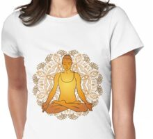 beautiful woman doing yoga meditation Womens Fitted T-Shirt