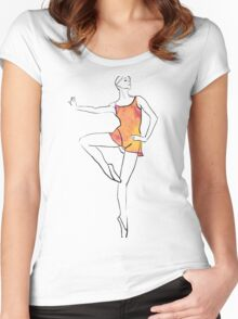 ballerina figure, watercolor illustration Women's Fitted Scoop T-Shirt
