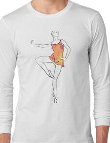ballerina figure, watercolor illustration Long Sleeve T-Shirt