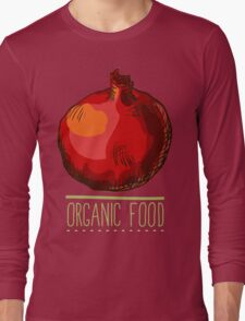 hand drawn vintage illustration of pomergranate Long Sleeve T-Shirt