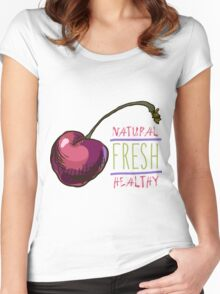 hand drawn vintage illustration of cherry Women's Fitted Scoop T-Shirt