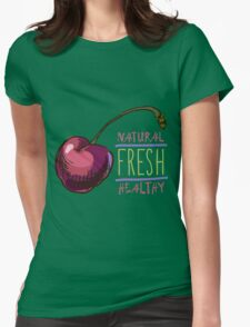 hand drawn vintage illustration of cherry Womens Fitted T-Shirt