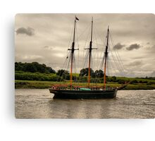 The Kathleen & May Schooner opposite Sea Mills Harbour, Bristol. Canvas Print